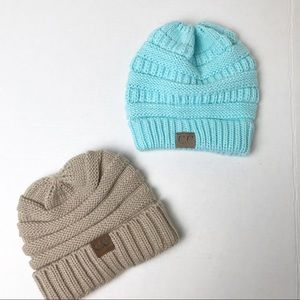Youth C.C. Beanies Bundle of 2 Beige Blue OS
